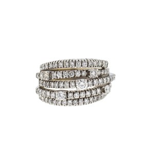 DAMIANI Damiani 18k White Gold 5 Row Diamond San Lorenz Ring