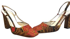 Prada Red, Brown & Yellow Mules