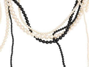 Chanel White and Black MULTISTRAND FAUX PEARL LOGO NECKLACE