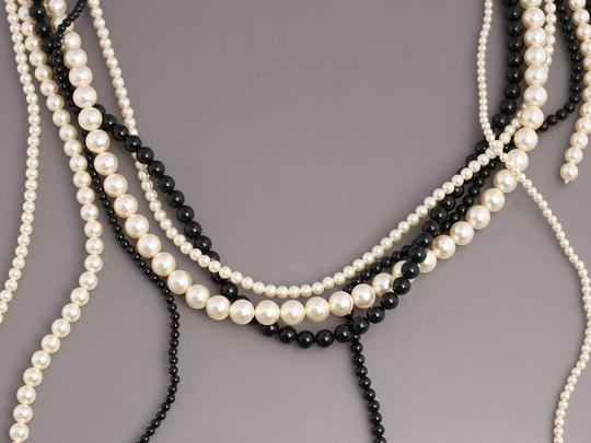 Chanel White and Black MULTISTRAND FAUX PEARL LOGO NECKLACE Image 1