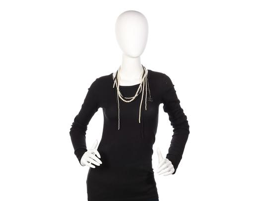 Chanel White and Black MULTISTRAND FAUX PEARL LOGO NECKLACE Image 5