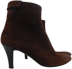 Salvatore Ferragamo Suede Ankle Pointed Toe Leather Brown Boots