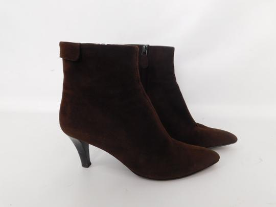 Salvatore Ferragamo Suede Ankle Pointed Toe Leather Brown Boots Image 5