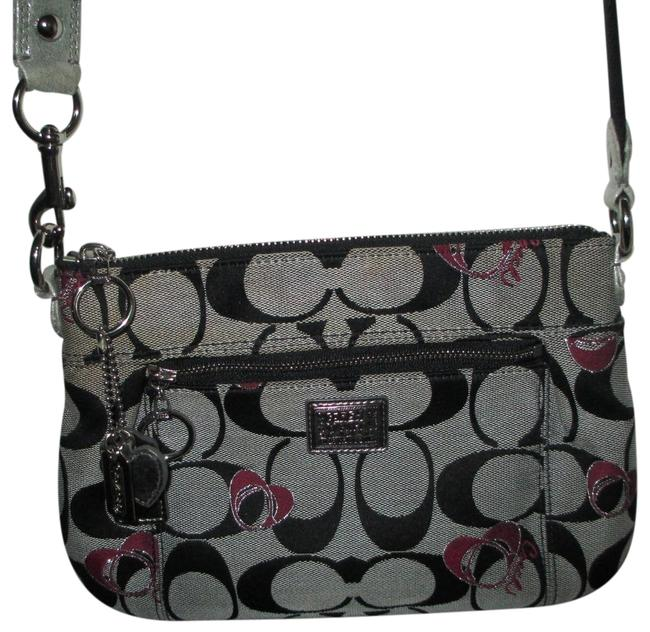 Item - Swingpack W Poppy W/Pink Hearts Nwot Black Gray and Pink Canvas Cross Body Bag
