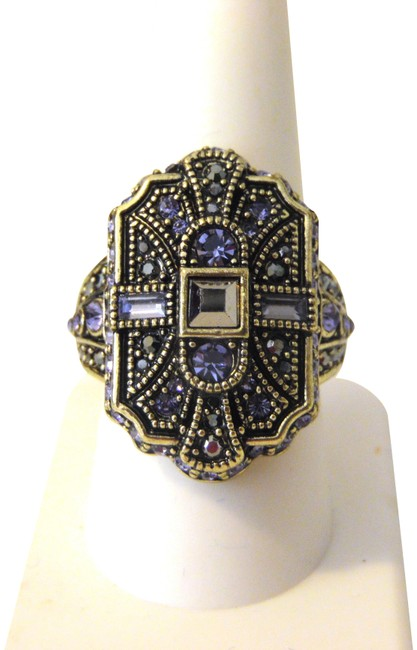 """Item - Bronzetone """"The Deco Trilogy"""" Crystal Shield 9 Ring"""