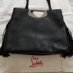 Christian Louboutin Tassle Vintage Tote in Black Leather, Red Interior