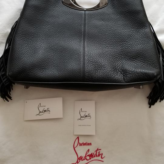 Christian Louboutin Tassle Vintage Tote in Black Leather, Red Interior Image 11