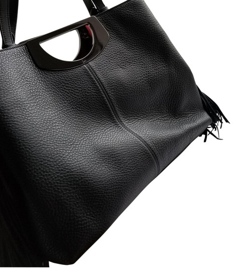 Christian Louboutin Tassle Vintage Tote in Black Leather, Red Interior Image 3