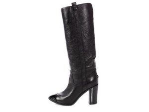 Chanel Ch.p0808.16 Leather Grained Cap Toe Black Boots