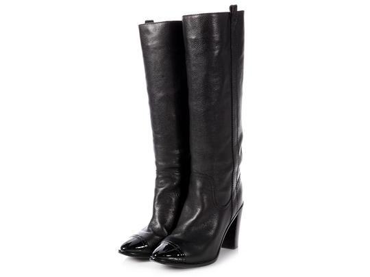 Chanel Ch.p0808.16 Leather Grained Cap Toe Black Boots Image 1