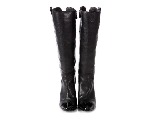 Chanel Ch.p0808.16 Leather Grained Cap Toe Black Boots Image 2