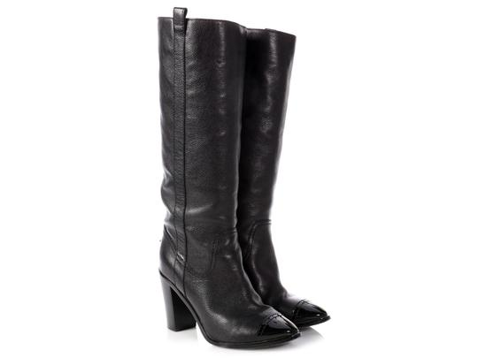 Chanel Ch.p0808.16 Leather Grained Cap Toe Black Boots Image 3