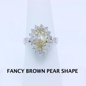 Fancy Brown Champagne Pear Shape Diamond 3.80 Tcw 14k White Engagement Ring