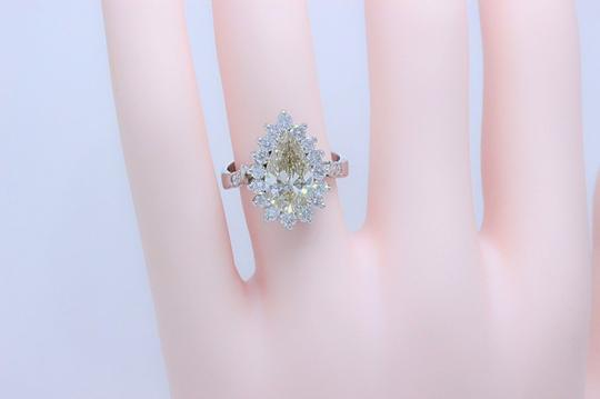 Fancy Brown Champagne Pear Shape Diamond 3.80 Tcw 14k White Engagement Ring Image 2