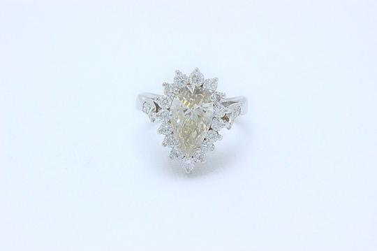 Fancy Brown Champagne Pear Shape Diamond 3.80 Tcw 14k White Engagement Ring Image 3