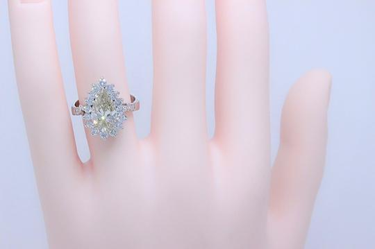 Fancy Brown Champagne Pear Shape Diamond 3.80 Tcw 14k White Engagement Ring Image 4