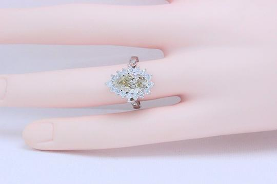 Fancy Brown Champagne Pear Shape Diamond 3.80 Tcw 14k White Engagement Ring Image 5