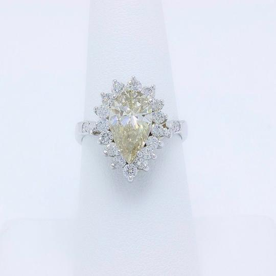 Fancy Brown Champagne Pear Shape Diamond 3.80 Tcw 14k White Engagement Ring Image 6