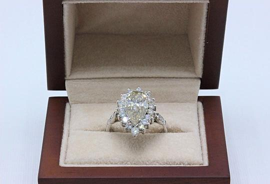 Fancy Brown Champagne Pear Shape Diamond 3.80 Tcw 14k White Engagement Ring Image 8