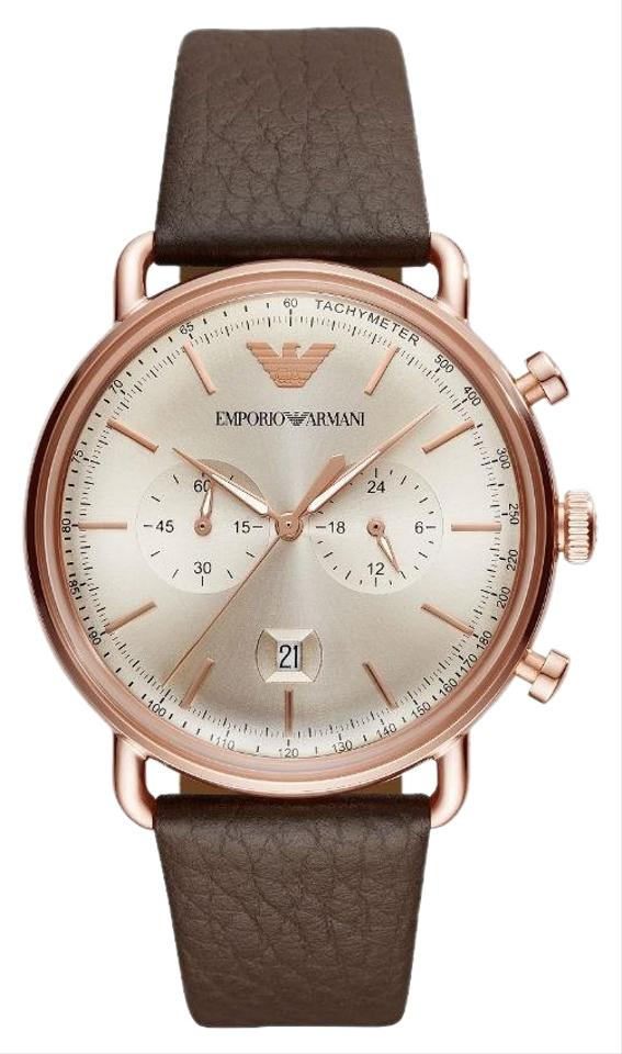 0915cbbe Emporio Armani Rose Gold / Brown Leather Band Men's Chronograph Dial  Ar11106 Watch