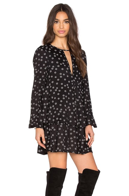 Item - Black Ny 'beck' Floral Printed Cut-out Long Sleeve Short Casual Dress Size 12 (L)