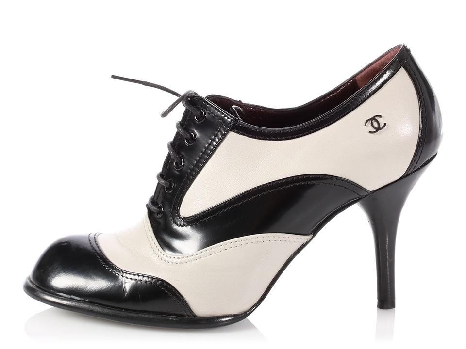 3c9e02881f59 Chanel Black  sold Ebay black and White Leather Lace Up Oxford Pumps ...