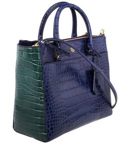 Tory Burch Croc Top Handle Fall Winter Tote in Navy multi