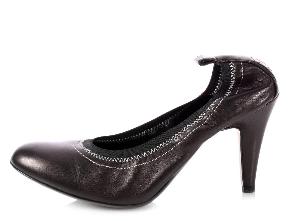 55a96bb86d2 Chanel Ch.p0808.13 Leather Round Toe Cc Reduced Price Black Pumps ...