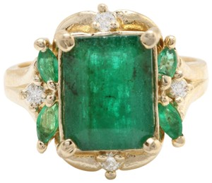 other 4.20CTW Natural Zammbian Emerald Diamonds in 14K Yellow Gold Ring