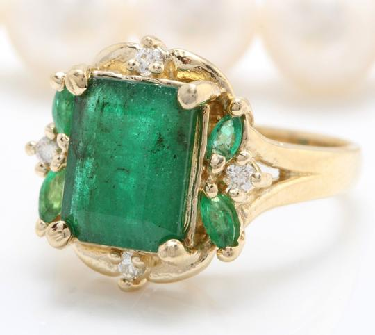 other 4.20CTW Natural Zammbian Emerald Diamonds in 14K Yellow Gold Ring Image 1