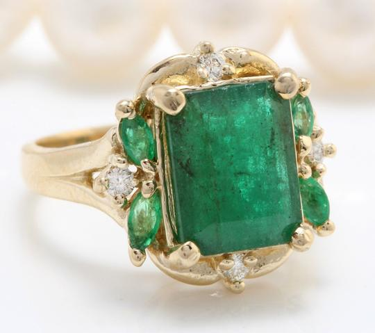 other 4.20CTW Natural Zammbian Emerald Diamonds in 14K Yellow Gold Ring Image 2
