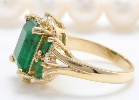 other 4.20CTW Natural Zammbian Emerald Diamonds in 14K Yellow Gold Ring Image 3