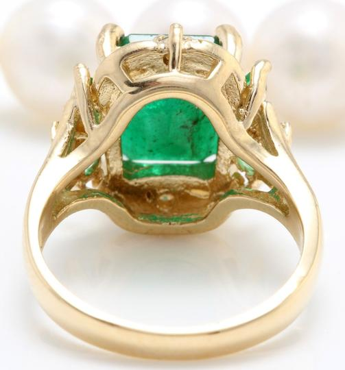 other 4.20CTW Natural Zammbian Emerald Diamonds in 14K Yellow Gold Ring Image 4