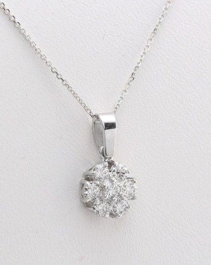 other .60CTW Natural Diamond in 14K Solid White Gold Flower Pendant Image 1