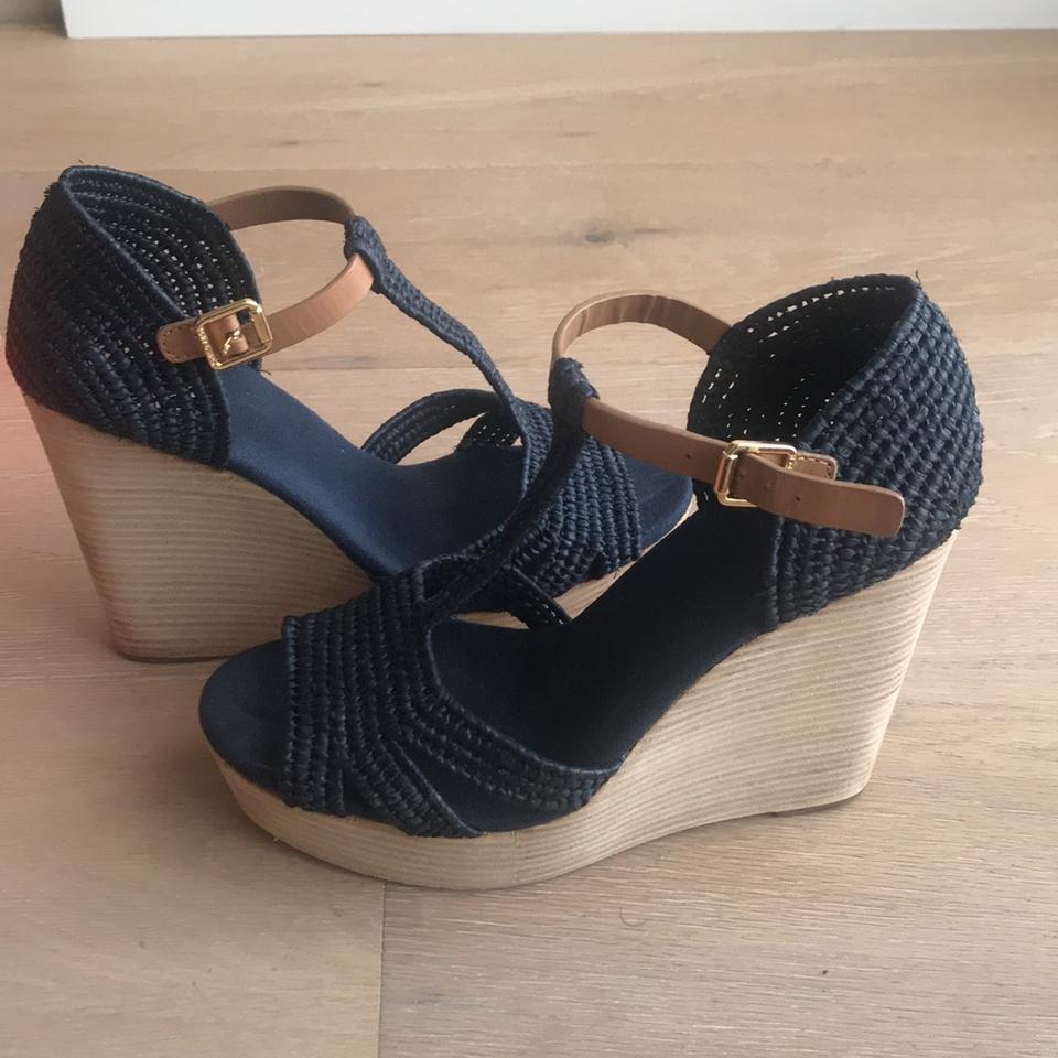 80c9f7acb Tory Burch Navy Blue Carina Wedges Size US 8 Regular (M