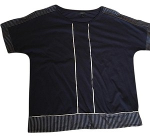 J.Crew T Shirt navy blue with off white trim