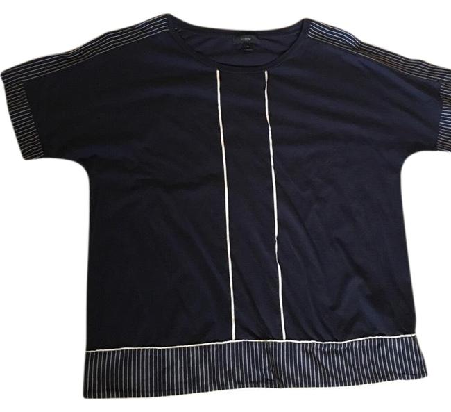 J.Crew T Shirt navy blue with off white trim Image 0