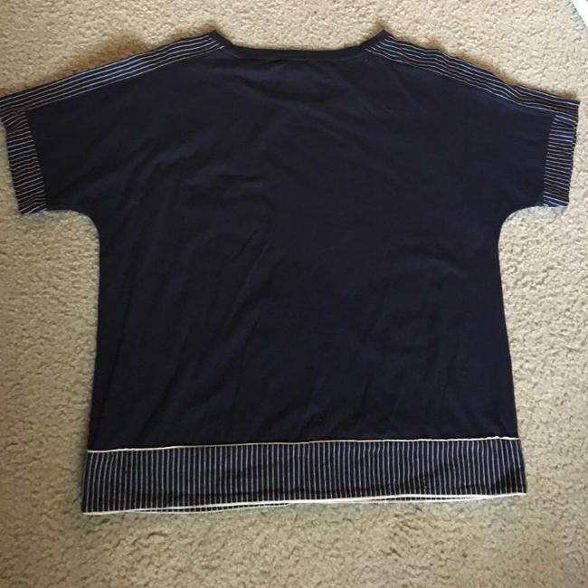 J.Crew T Shirt navy blue with off white trim Image 1