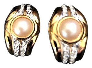 Unknown Faux Pearl, Goldtone and Crystal Clip-on Earrings
