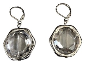 Unknown Silvertone and Hexagon Crystal Leverback Earrings