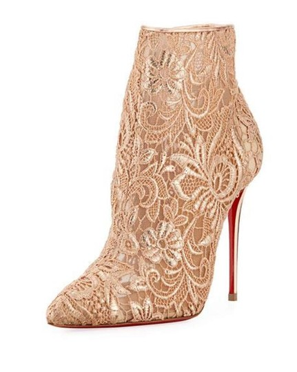 Christian Louboutin Ankle Heels Lace Gipsy Nude/Cipria Boots