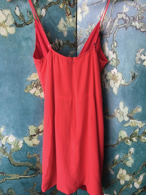 Lavender Brown short dress Coral Red Silk Sundress Faux Wrap on Tradesy