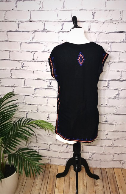 THML Black Summer V-neck Embroidered Tunic