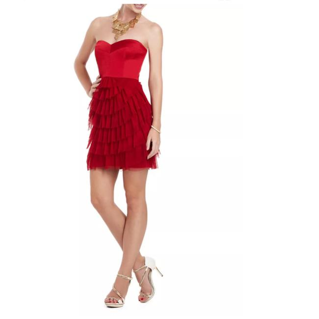 Preload https://img-static.tradesy.com/item/23998849/bcbgmaxazria-red-bcbg-strapless-corset-tiered-tulle-short-formal-dress-size-petite-6-s-0-0-650-650.jpg