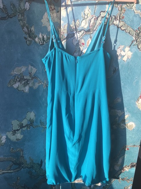 Lavender Brown short dress Turquoise Silk Sundress Faux Wrap on Tradesy