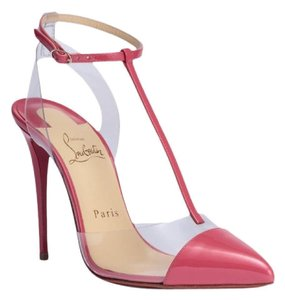 Christian Louboutin Begonia Pink Nosy 100 Patent Leather Pvc T Strap Stiletto Pumps Pumps