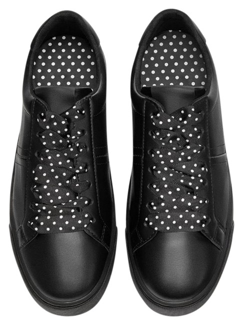 Item - Black Sneakers with Polka Dot Lace Flats Size US 8 Regular (M, B)