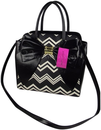 Betsey Johnson Contrast Print Gold Hardware Satchel/Cross Over Large Size Faux Leather Tote in Multi-Color Image 1