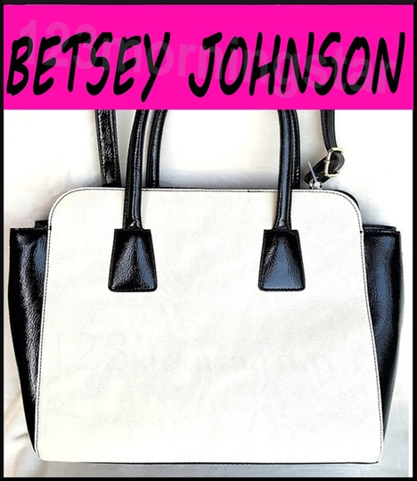 Betsey Johnson Contrast Print Gold Hardware Satchel/Cross Over Large Tote Size Faux Leather Satchel in Multi-Color