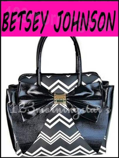Betsey Johnson Contrast Print Gold Hardware Satchel/Cross Over Large Size Faux Leather Tote in Multi-Color Image 2